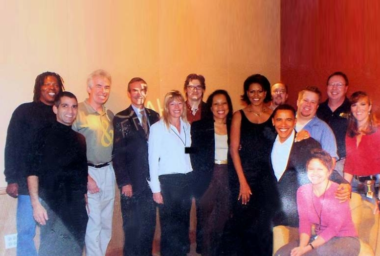 Barak Obama with original Oprah Winfrey Harpo radio staff